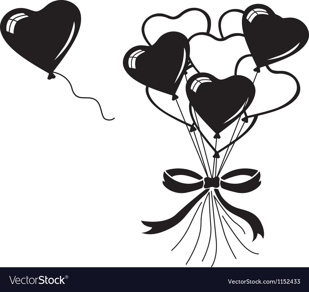 Heart balloons bouquet vector