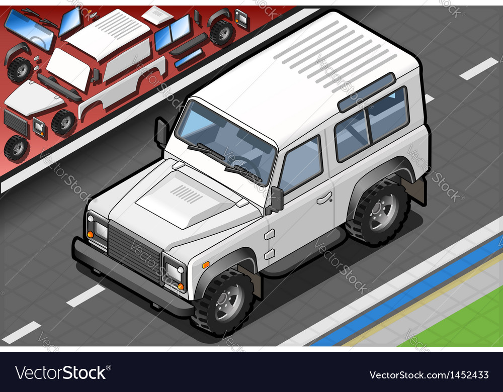 Isometric white cross country vehicle in front vector
