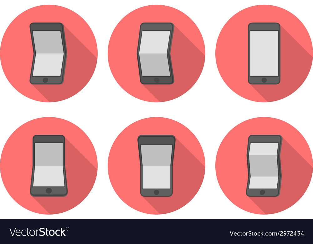Curve smartphone flat icons vector