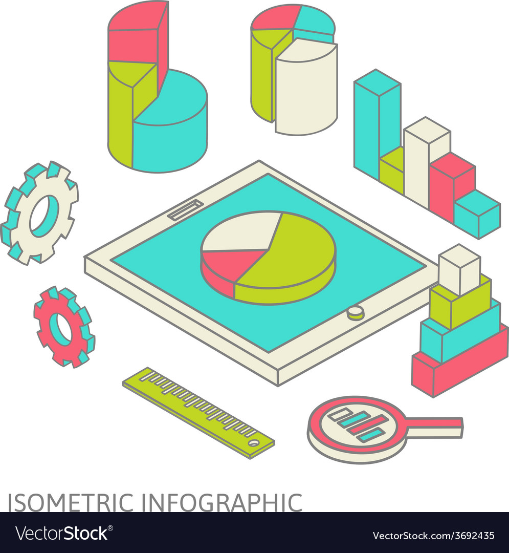 Isometric business finance analytics chart graphic vector