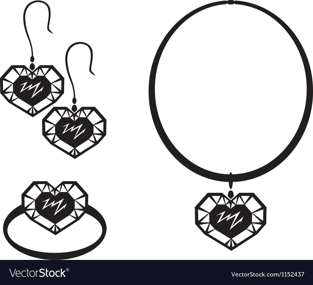 Heart jewelry vector