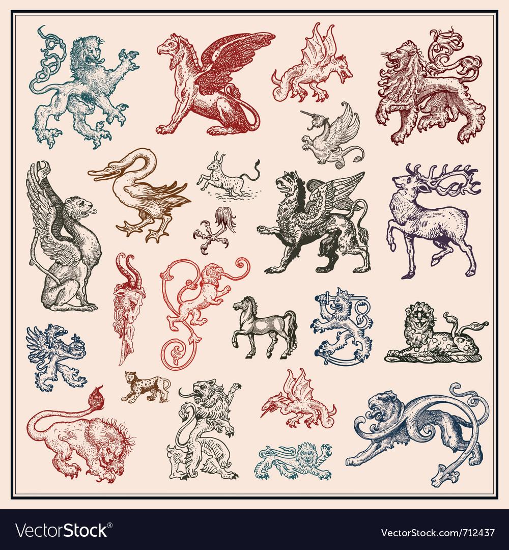 Heraldic beast collection vector