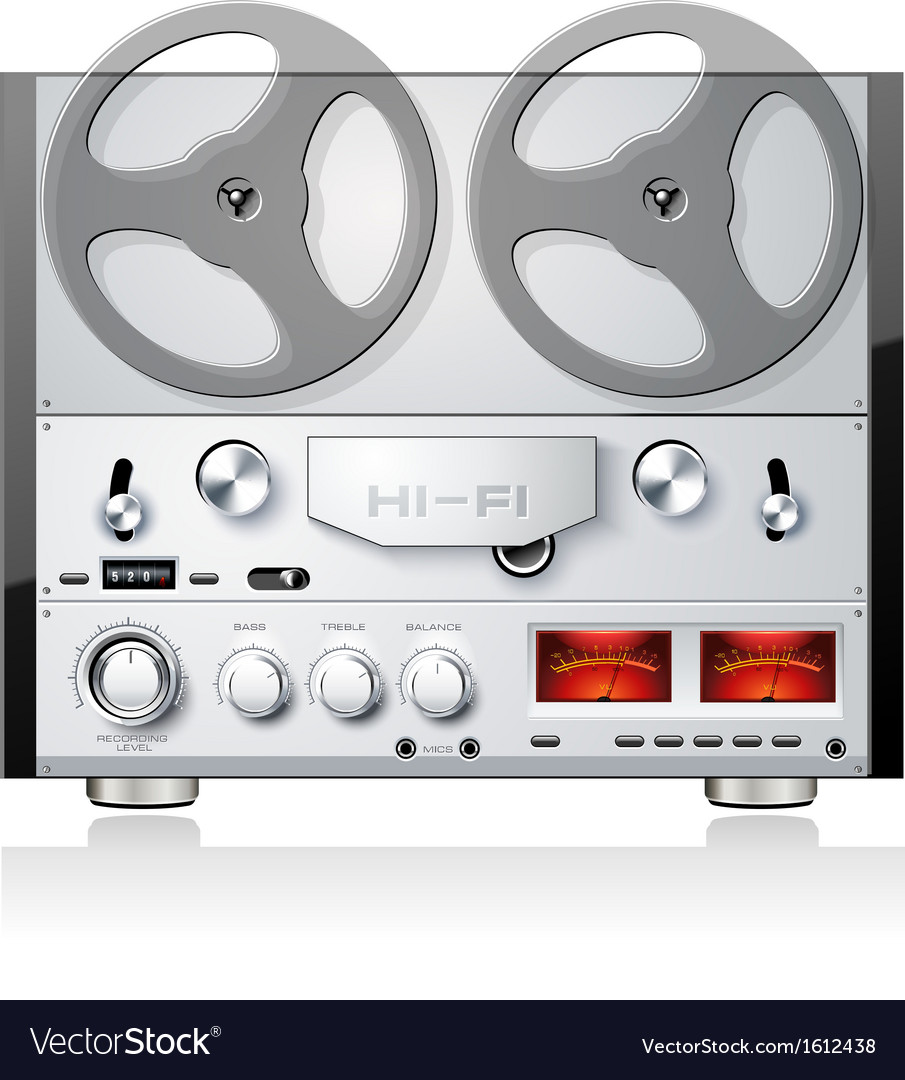 Vintage open reel analog stereo tape deck player vector