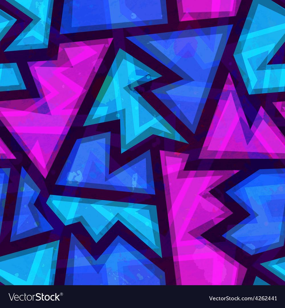 Purple geometric seamless pattern with grunge vector