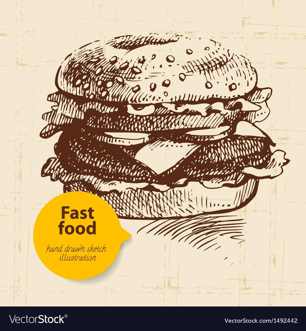 Vintage fast food background vector