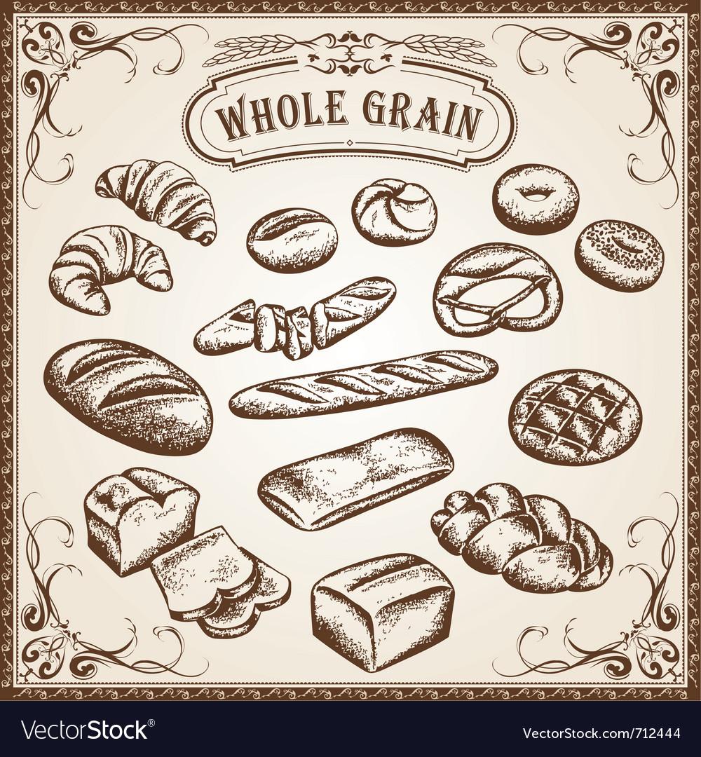 Bakery set whole grain vector