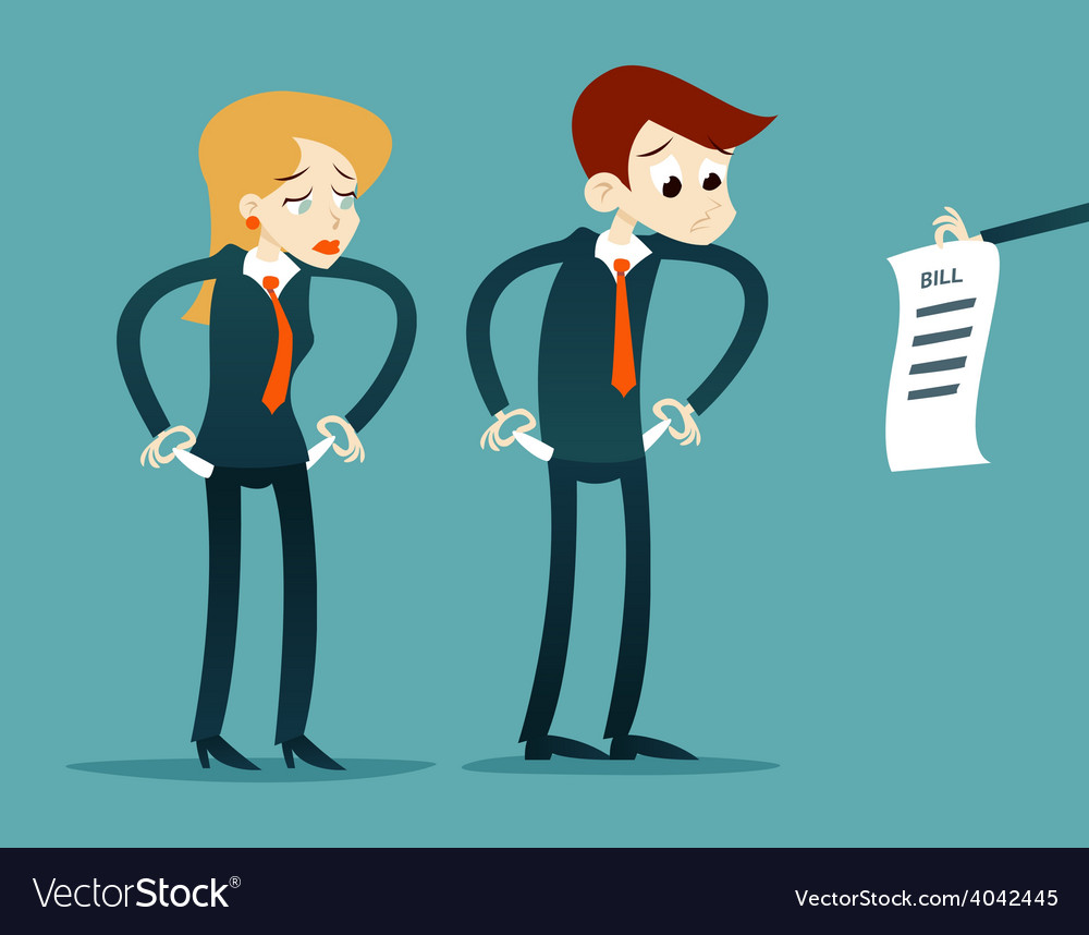 Out of money businessman cartoon character looking vector
