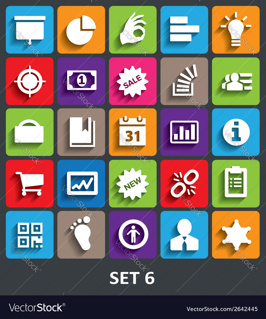 Trendy icons with shadow set 6 vector
