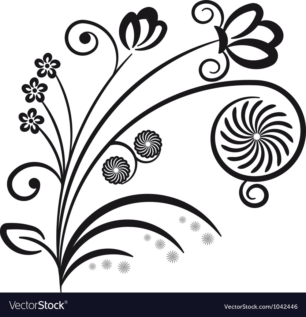 Floral ornament decorative branch vector