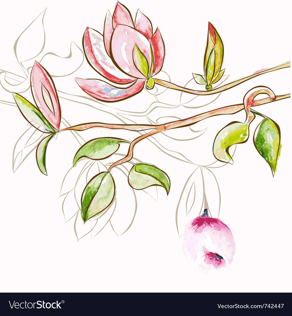 Decorative spring flowers vector