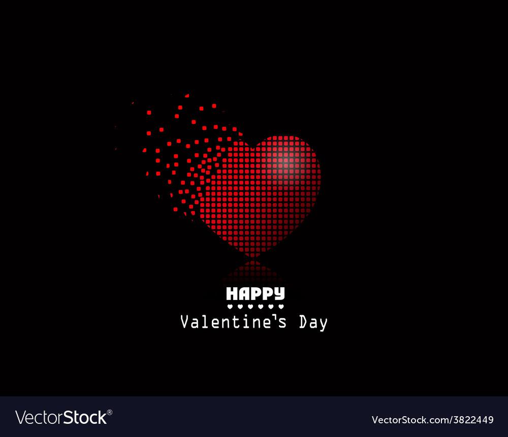 Pixel heart valentine day background vector
