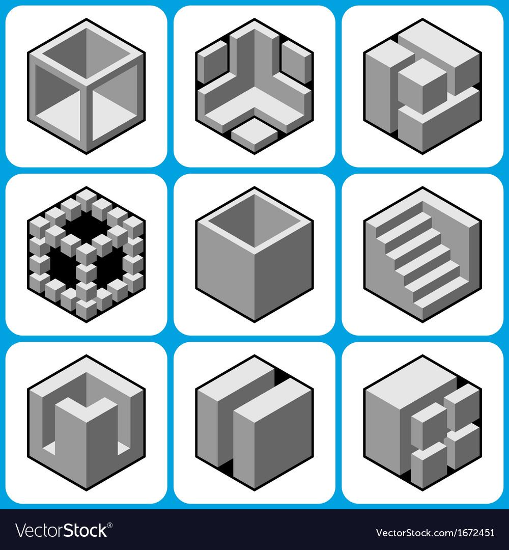 Cube icon set 2 vector