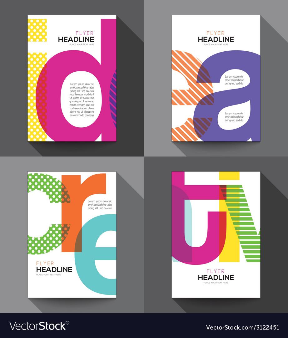 Set of creative brochure flyer design template vector