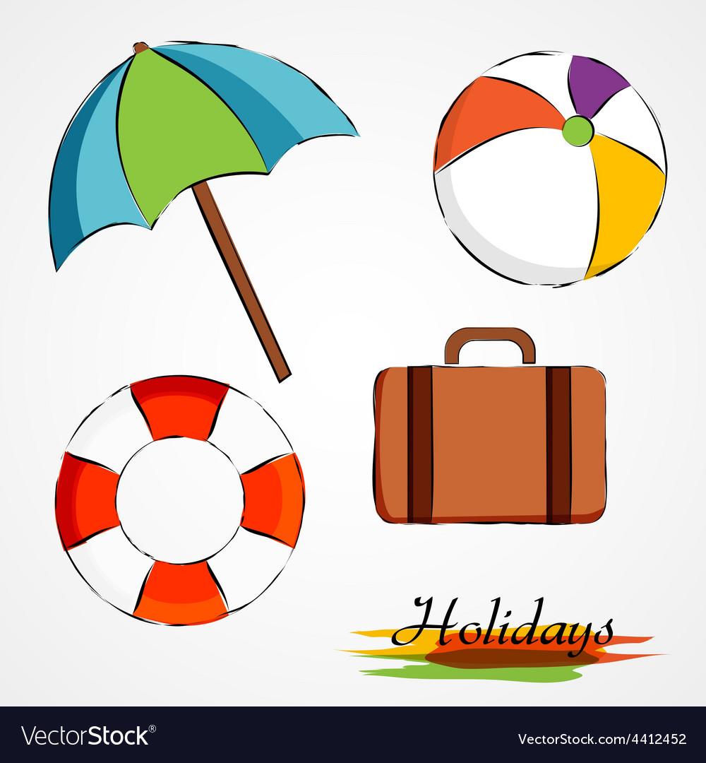 Summer holidays items vector