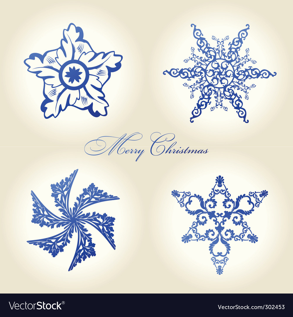 Christmas snowflakes vintage decor blue vector