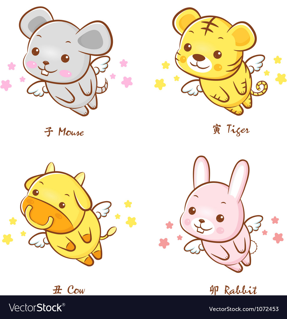 Flying rat and cow tiger and rabbit mascot vector