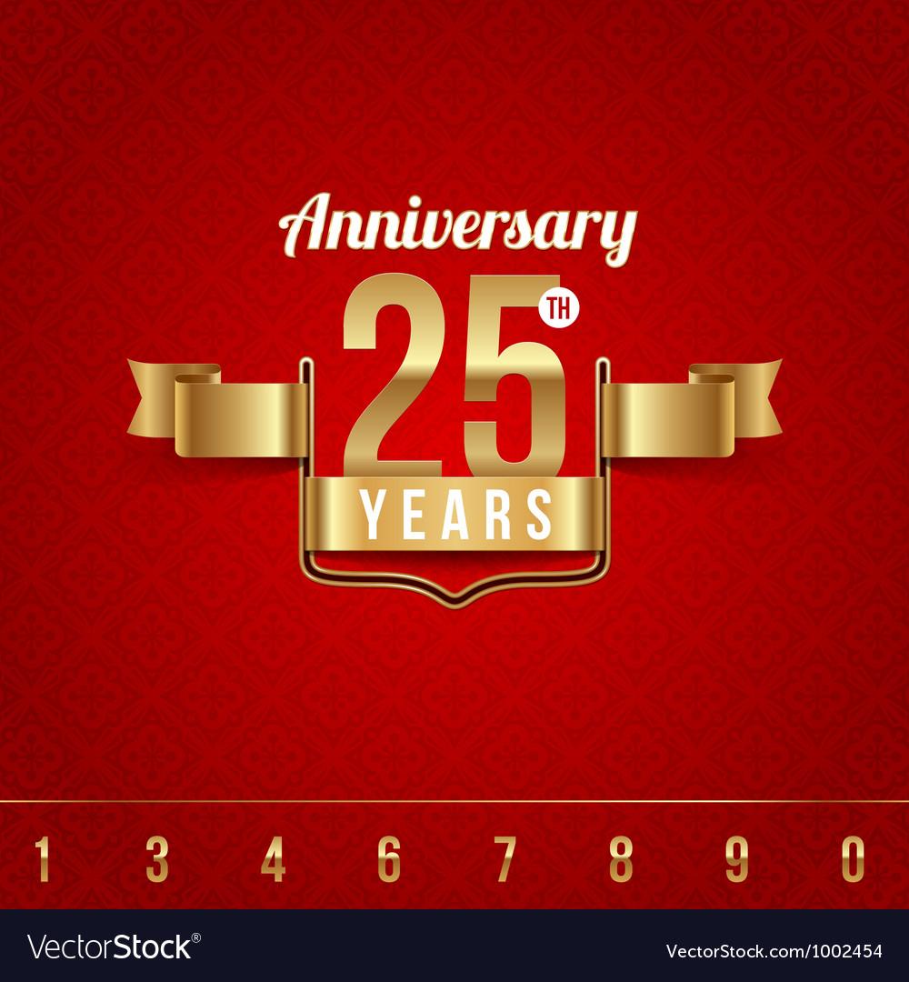 Decorative golden emblem of anniversary vector
