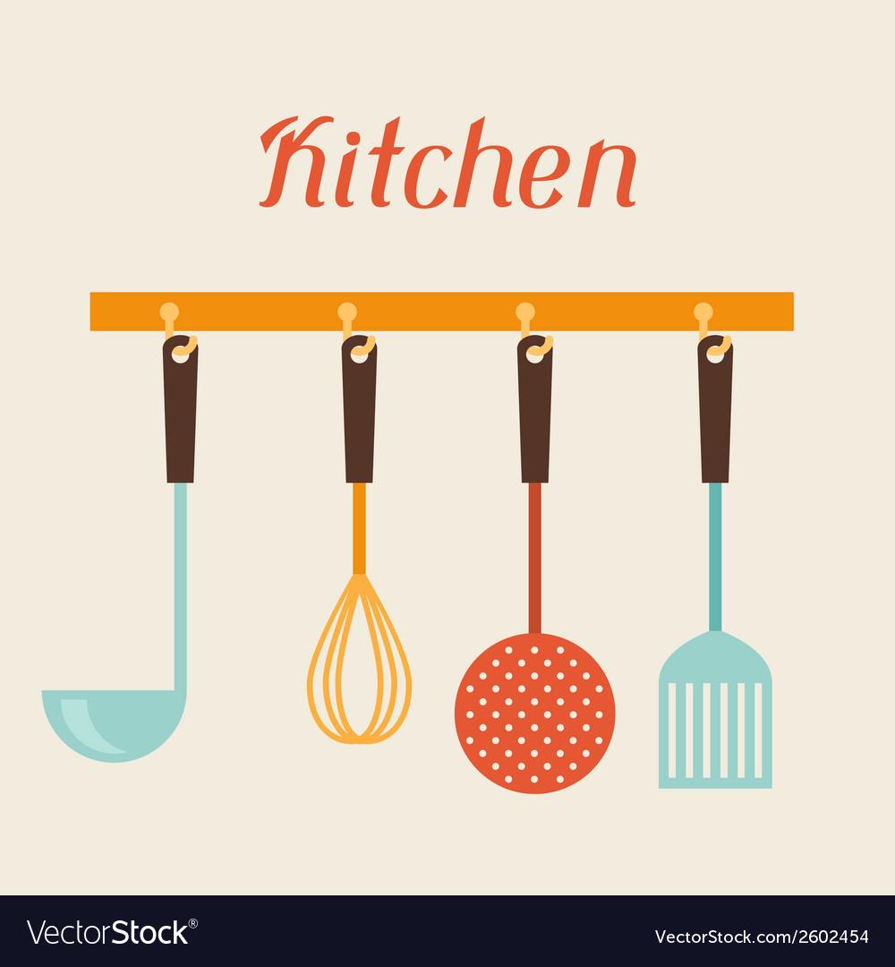 Kitchen and restaurant utensils spatula whisk vector