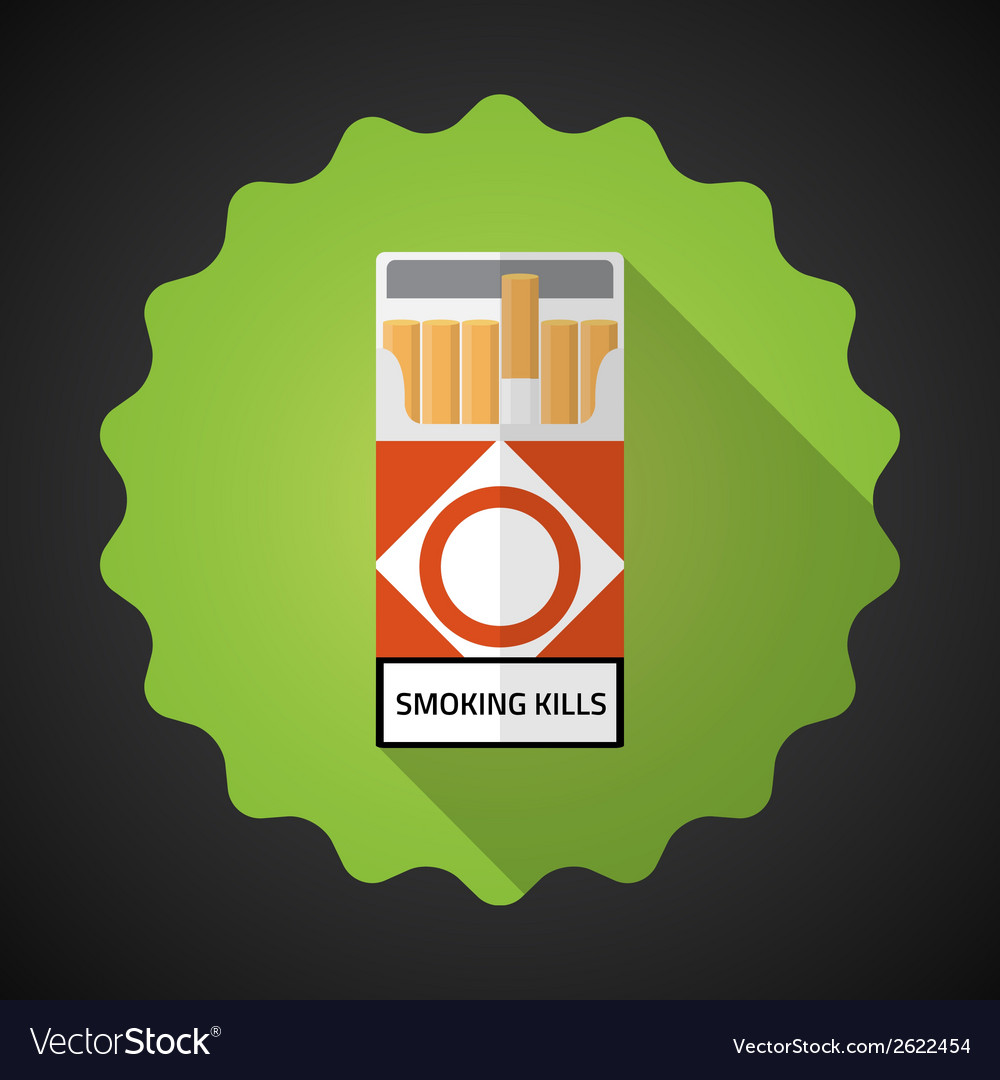 Smoking cigarette pack bad habit flat icon vector