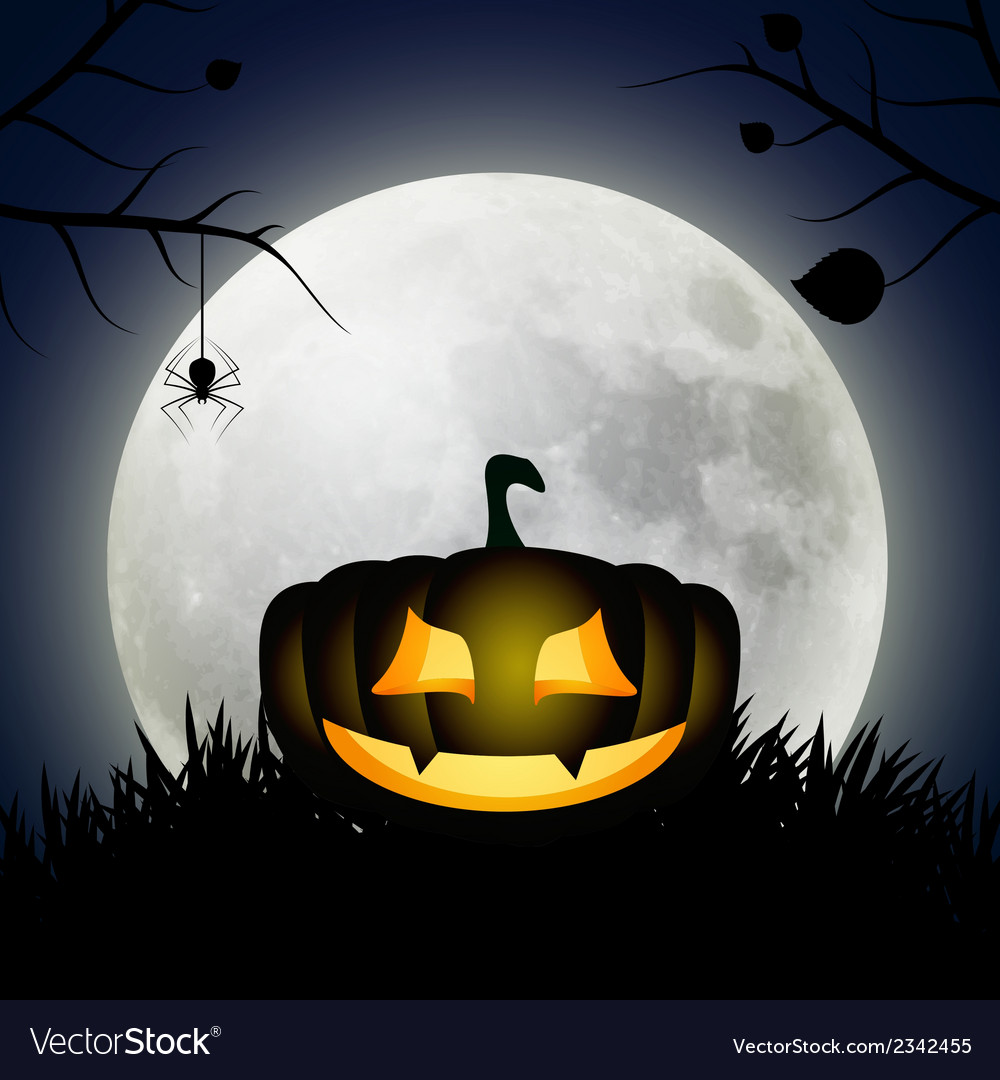 Background with moon and silhouette of pumpkin vector