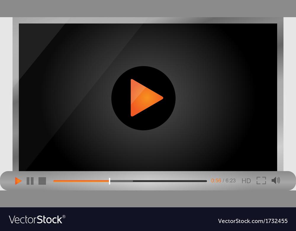Video player for web minimalistic design vector