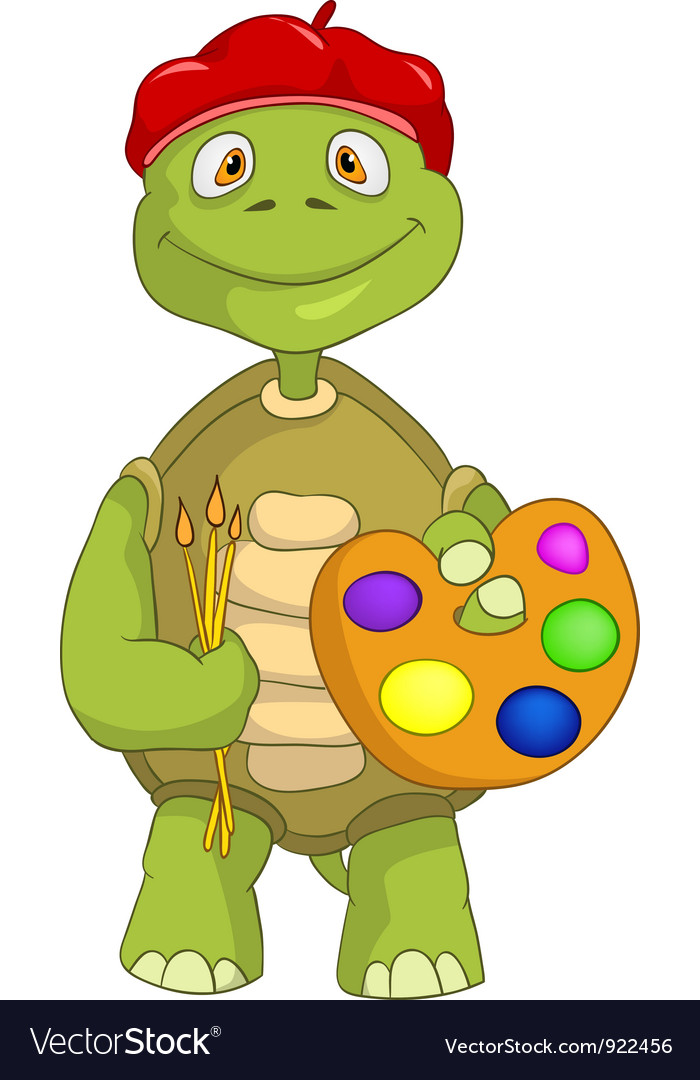 Funny turtle artist vector
