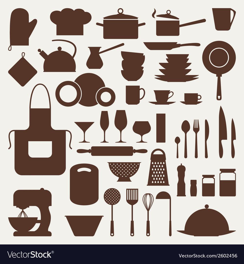 Kitchen and restaurant icon set of utensils vector