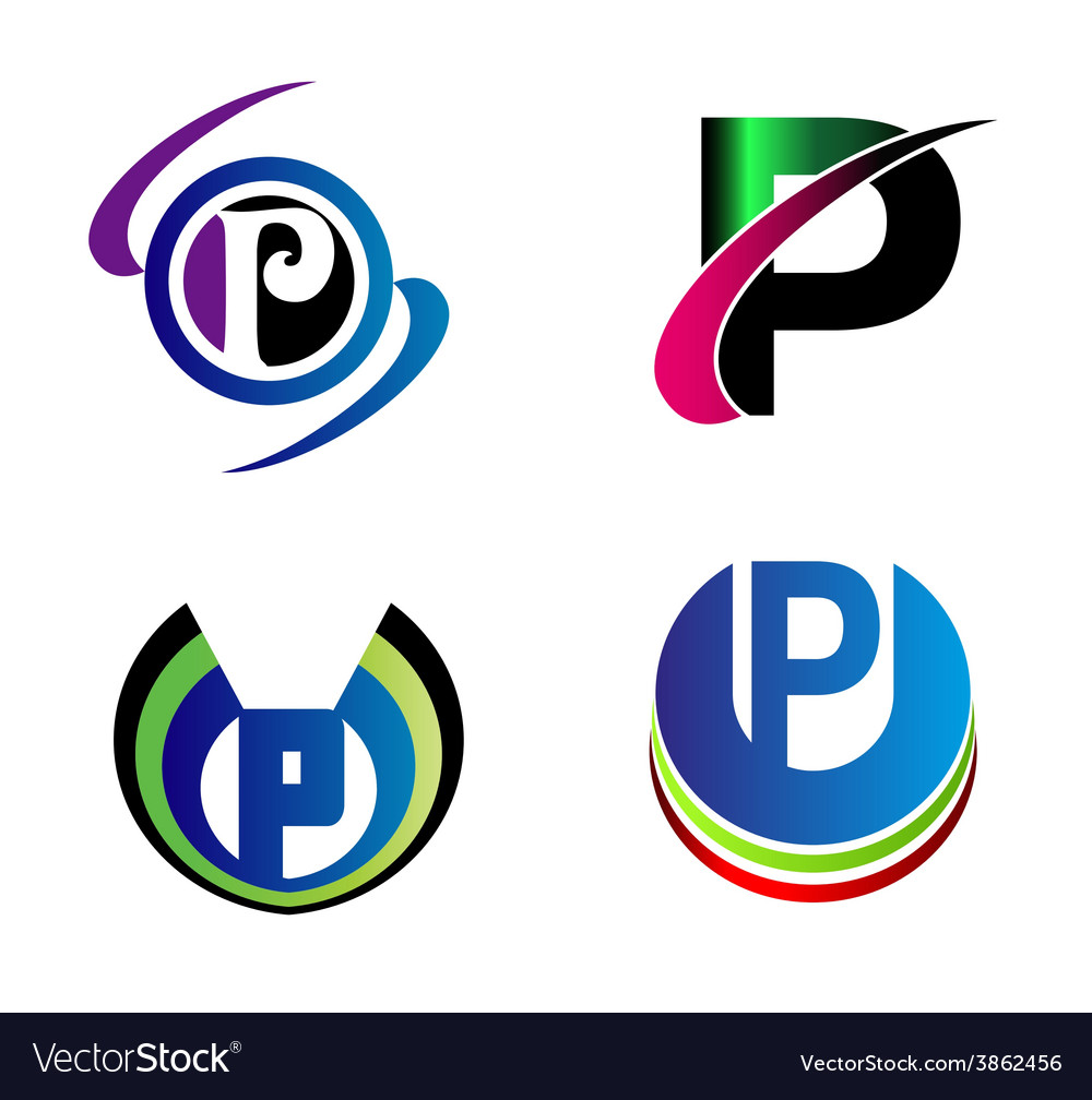 Set of alphabet symbols and elements of letter p vector