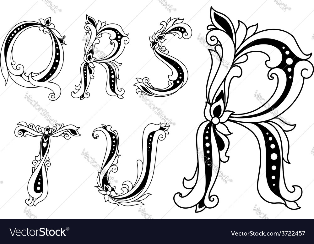 Floral capital letters q r s t and u vector