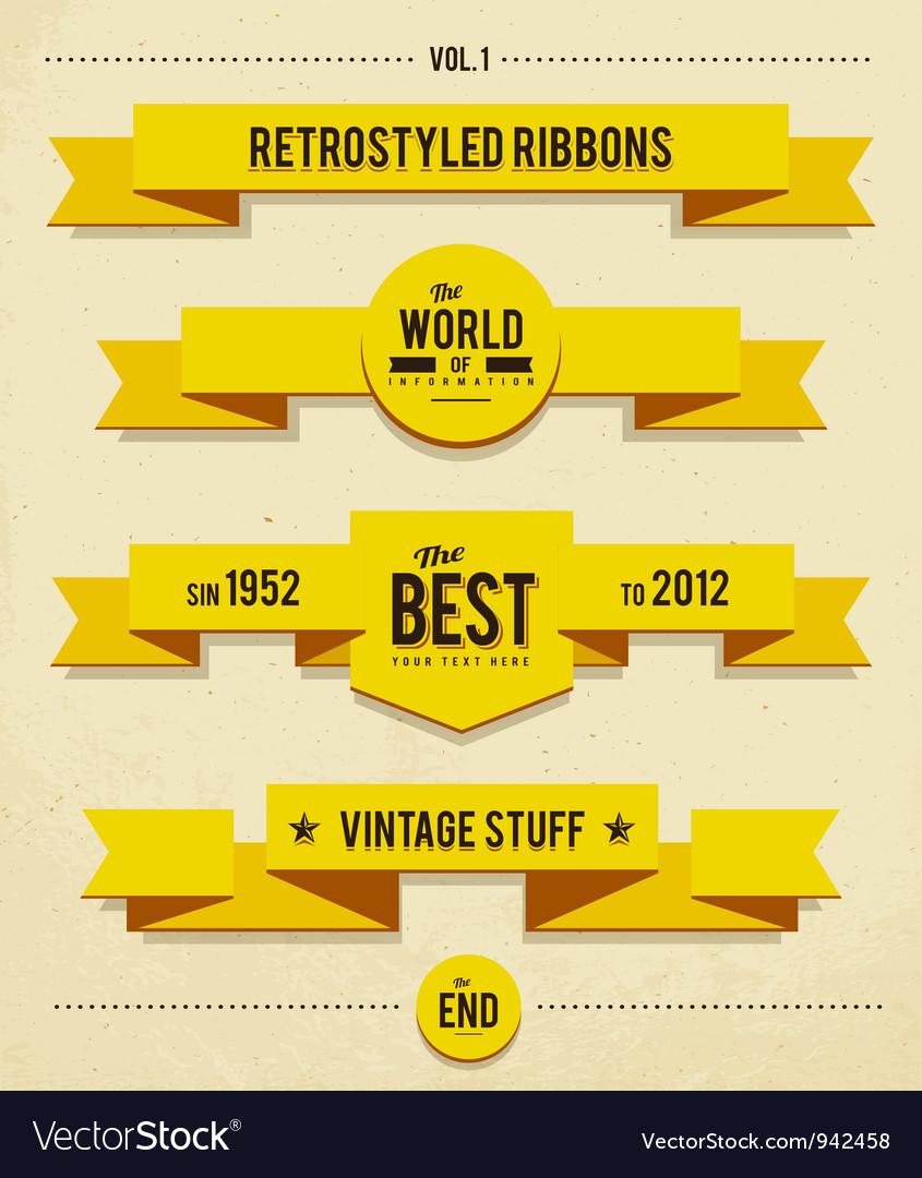 Retro syled ribbons vector