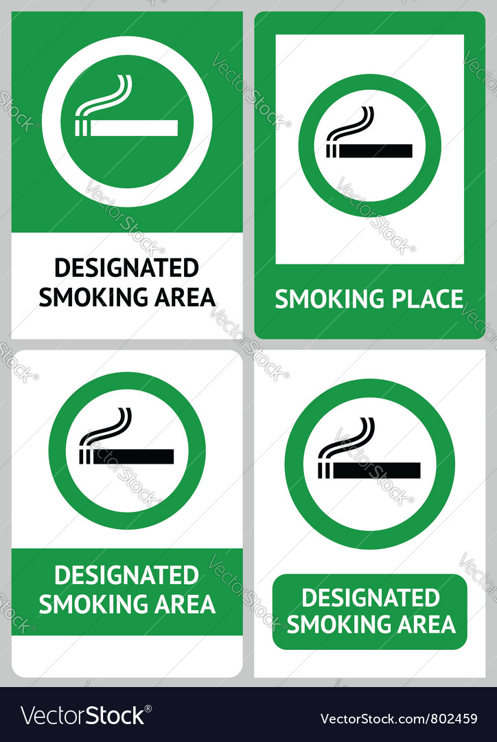 Label set smoking place vector