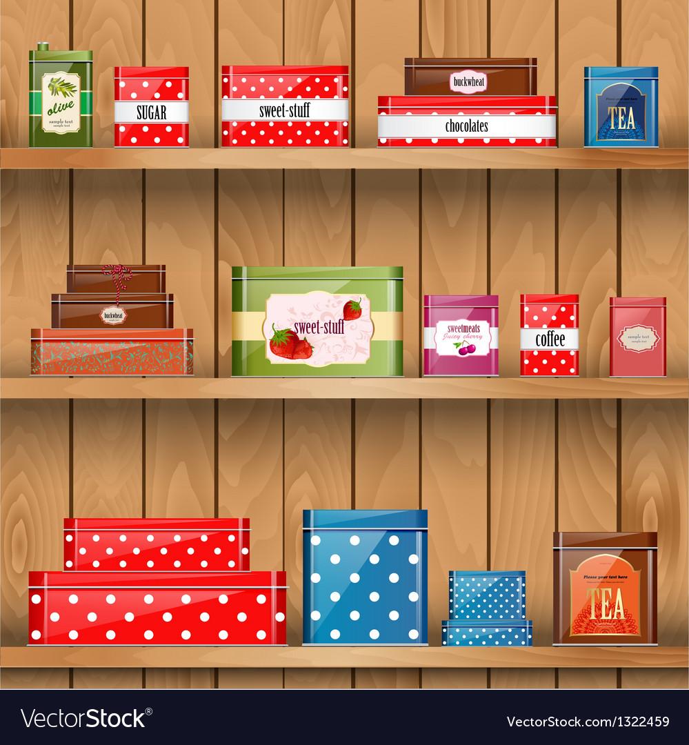 Tin boxes shelf vector