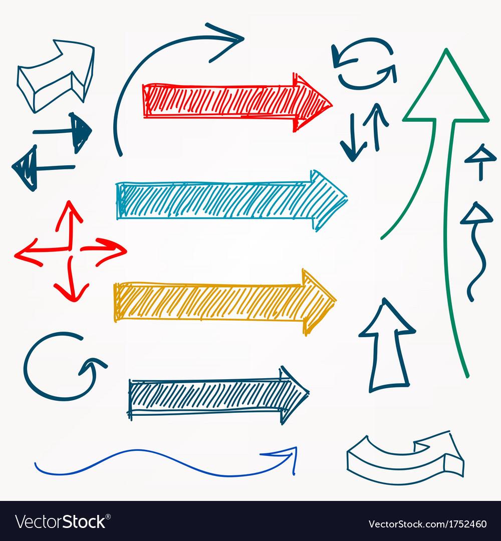 Arrow color sketchy design elements set vector