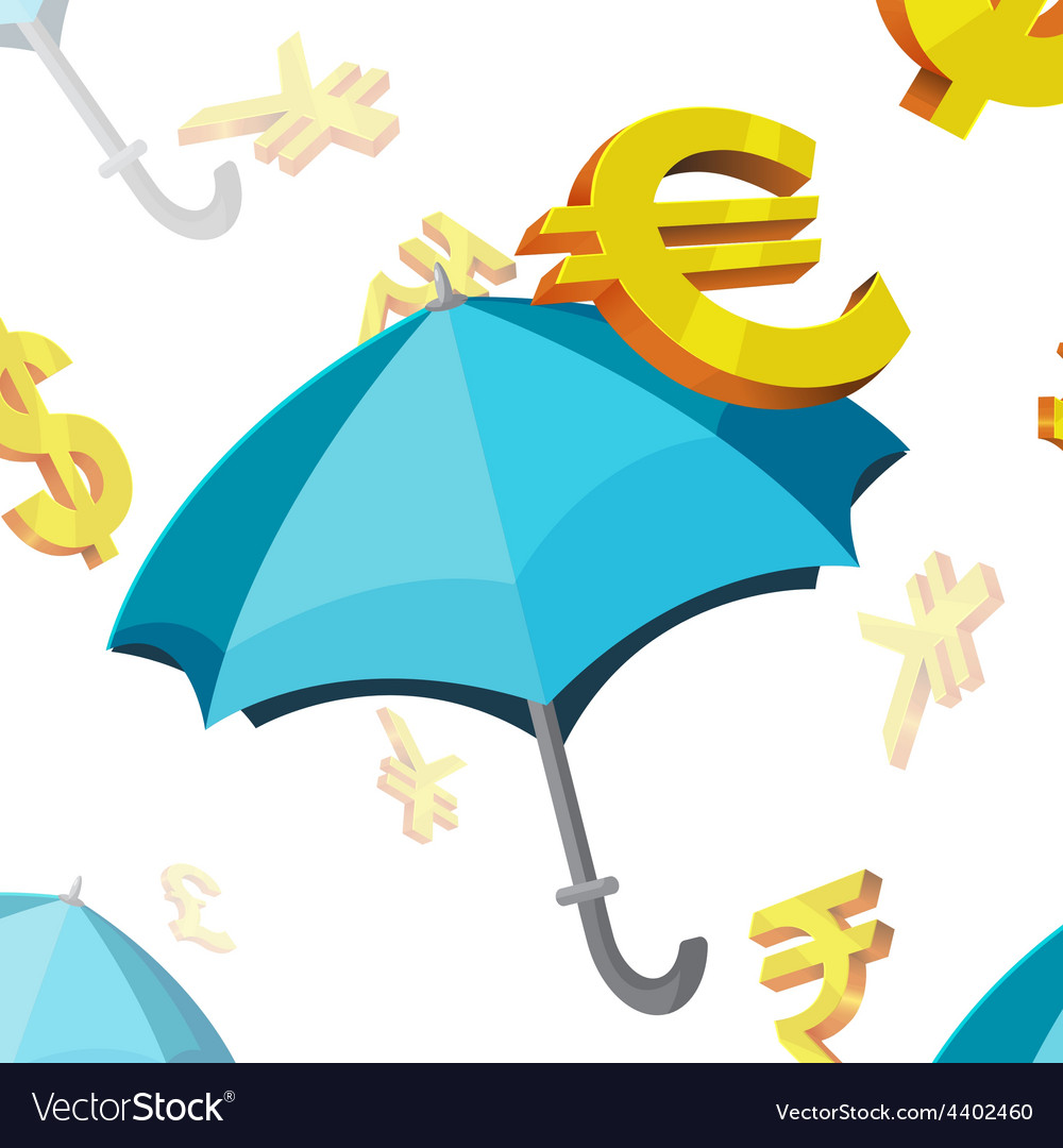 Umbrella currency symbols finance vector