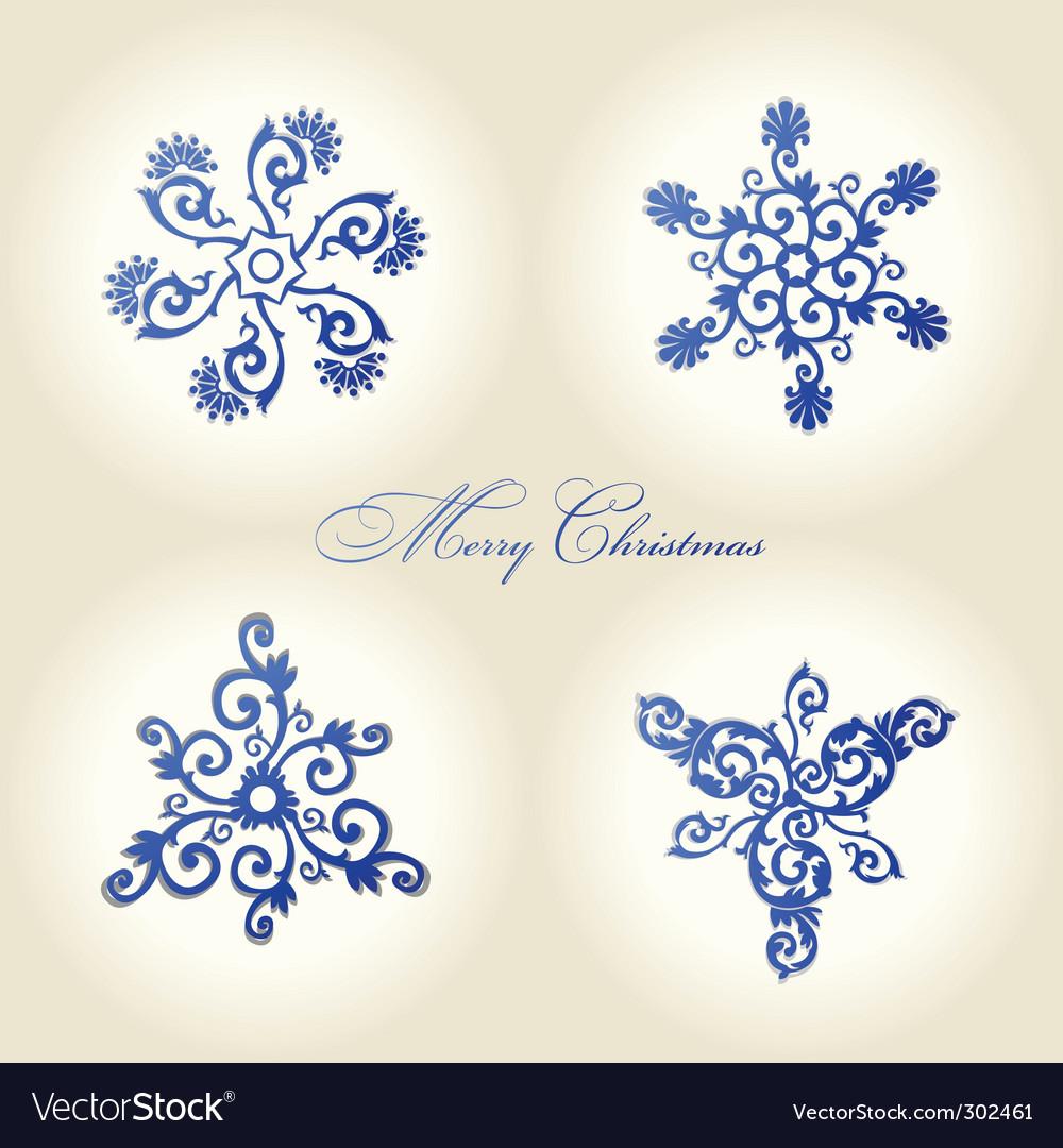 Christmas snowflakes vintage decor vector