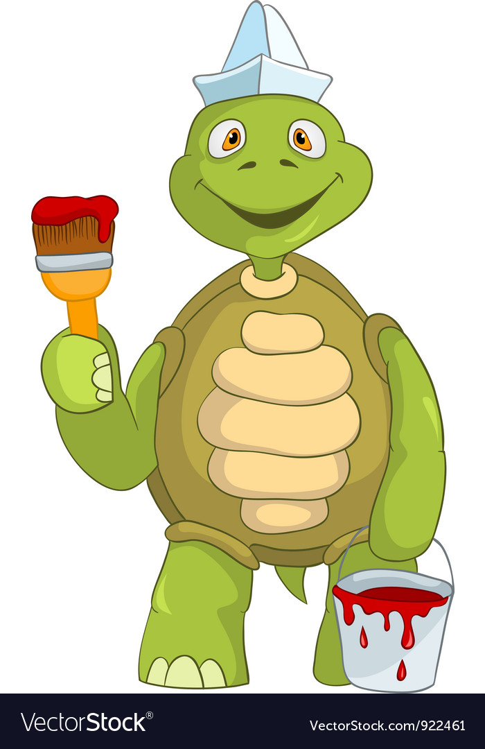 Funny turtle painter vector