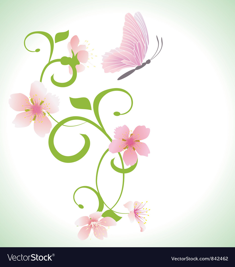 Pink butterfly with pink spring flowers vector