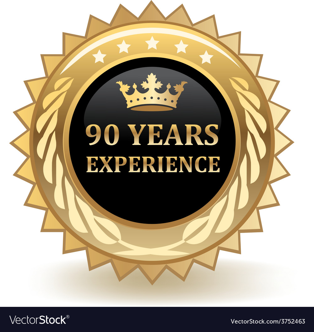 Ninety years experience badge vector