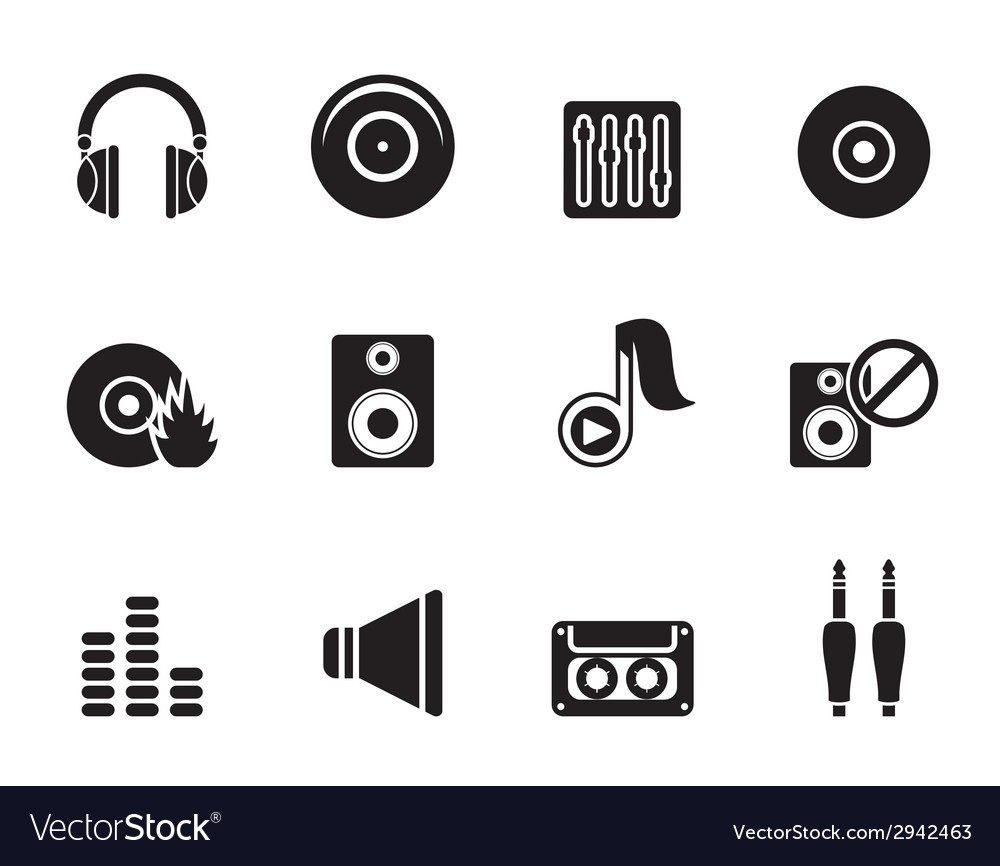 Silhouette music and sound icons vector