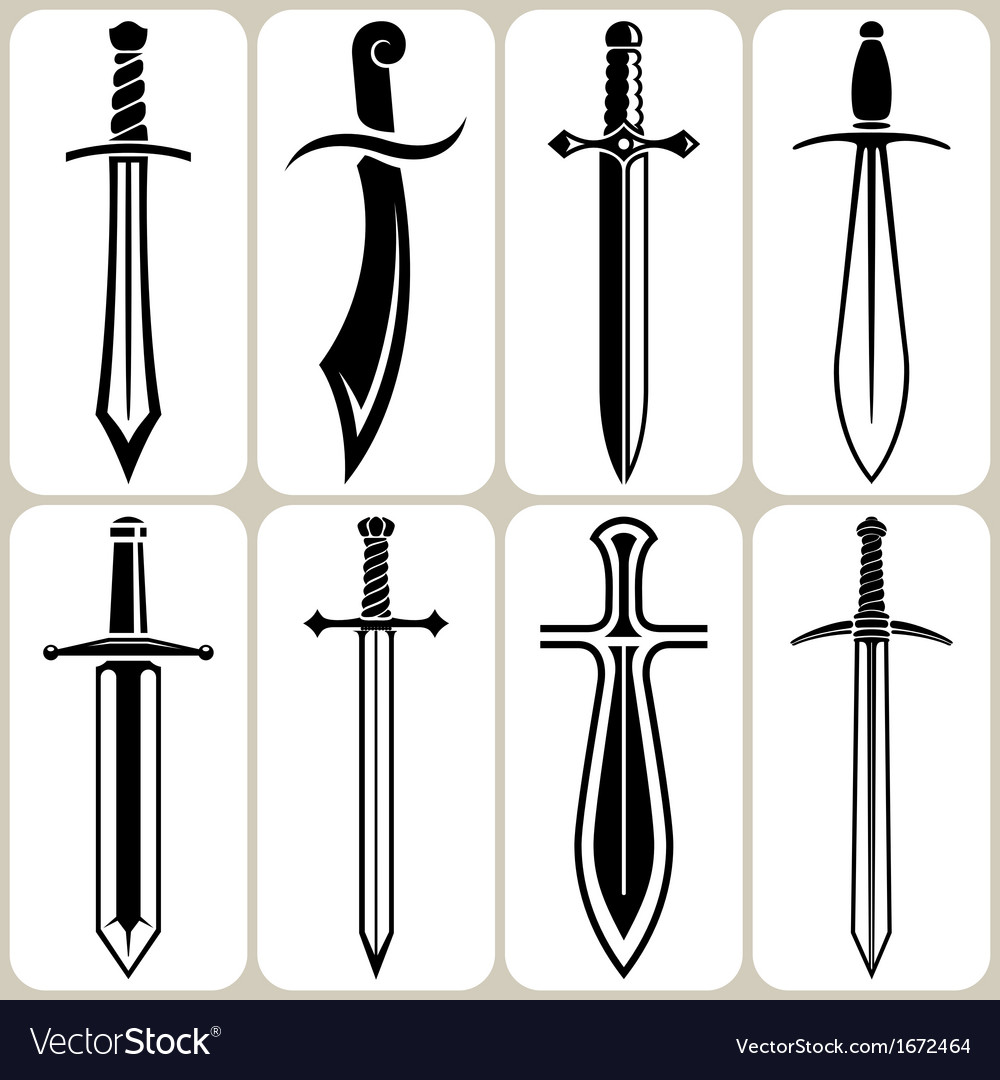 Swords icons set vector