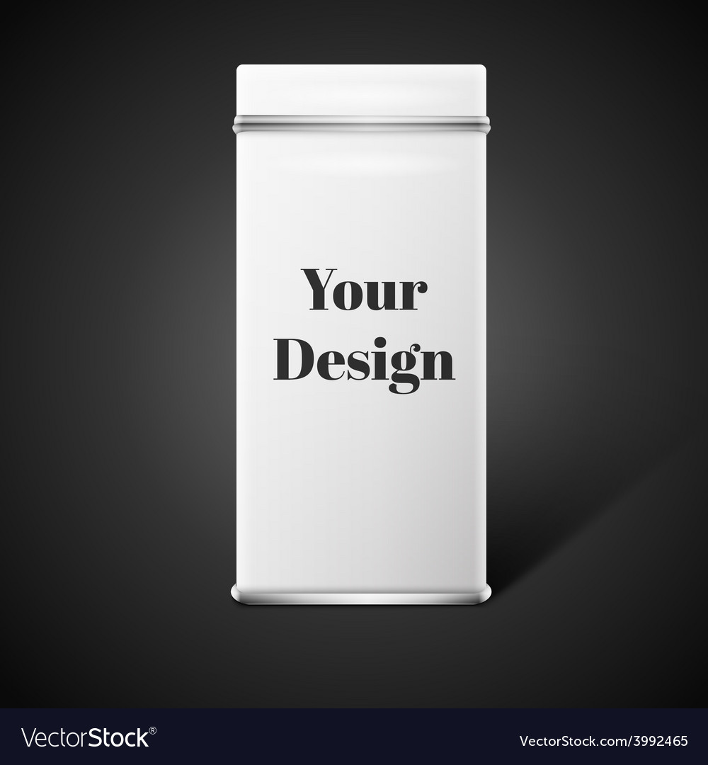 Object white square tin packaging tea vector