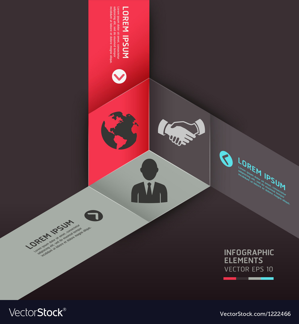 Business circle origami style options banner vector