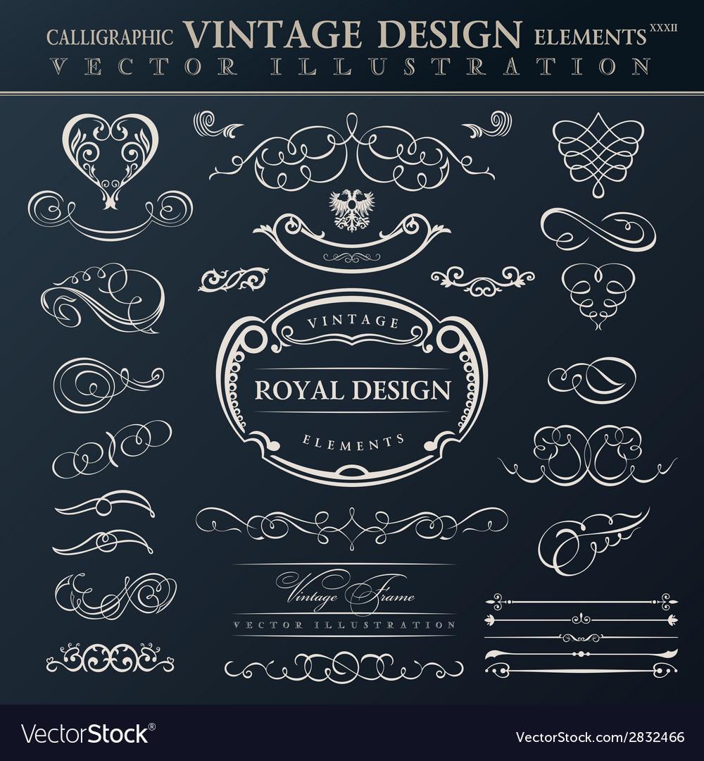 Calligraphic elements vintage ornament set frames vector