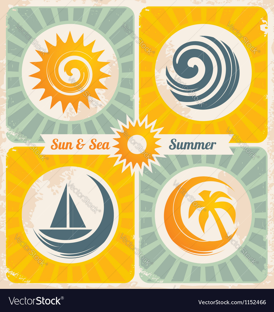 Retro summer holiday poster vector