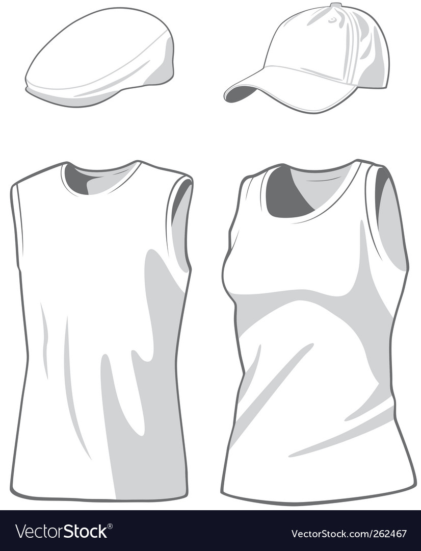 Shirts and caps vector
