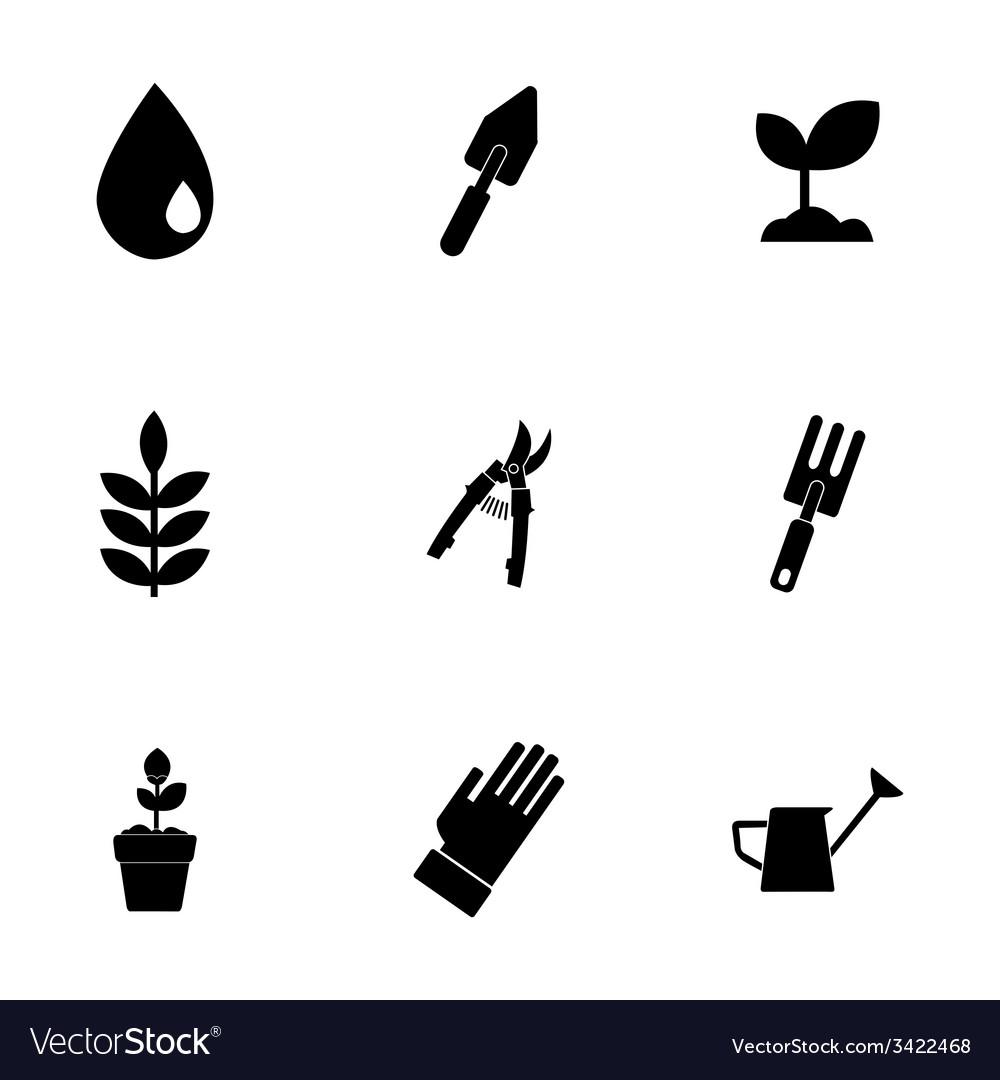 Black gardening icons set vector