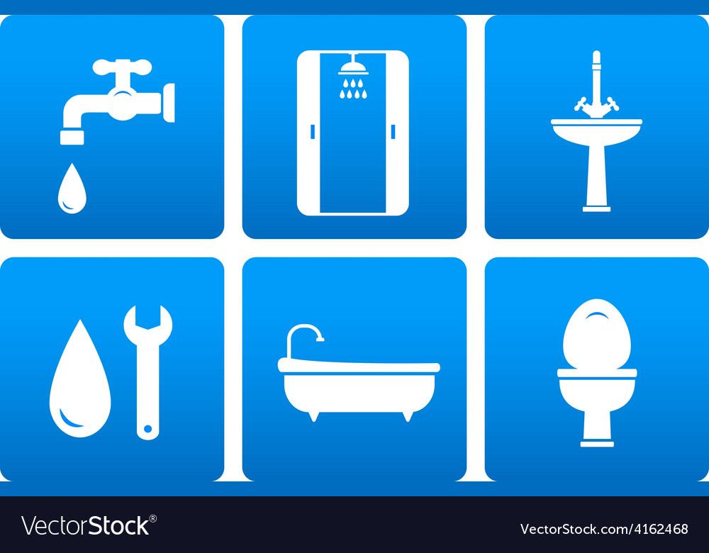 Set of plumbing icons vector