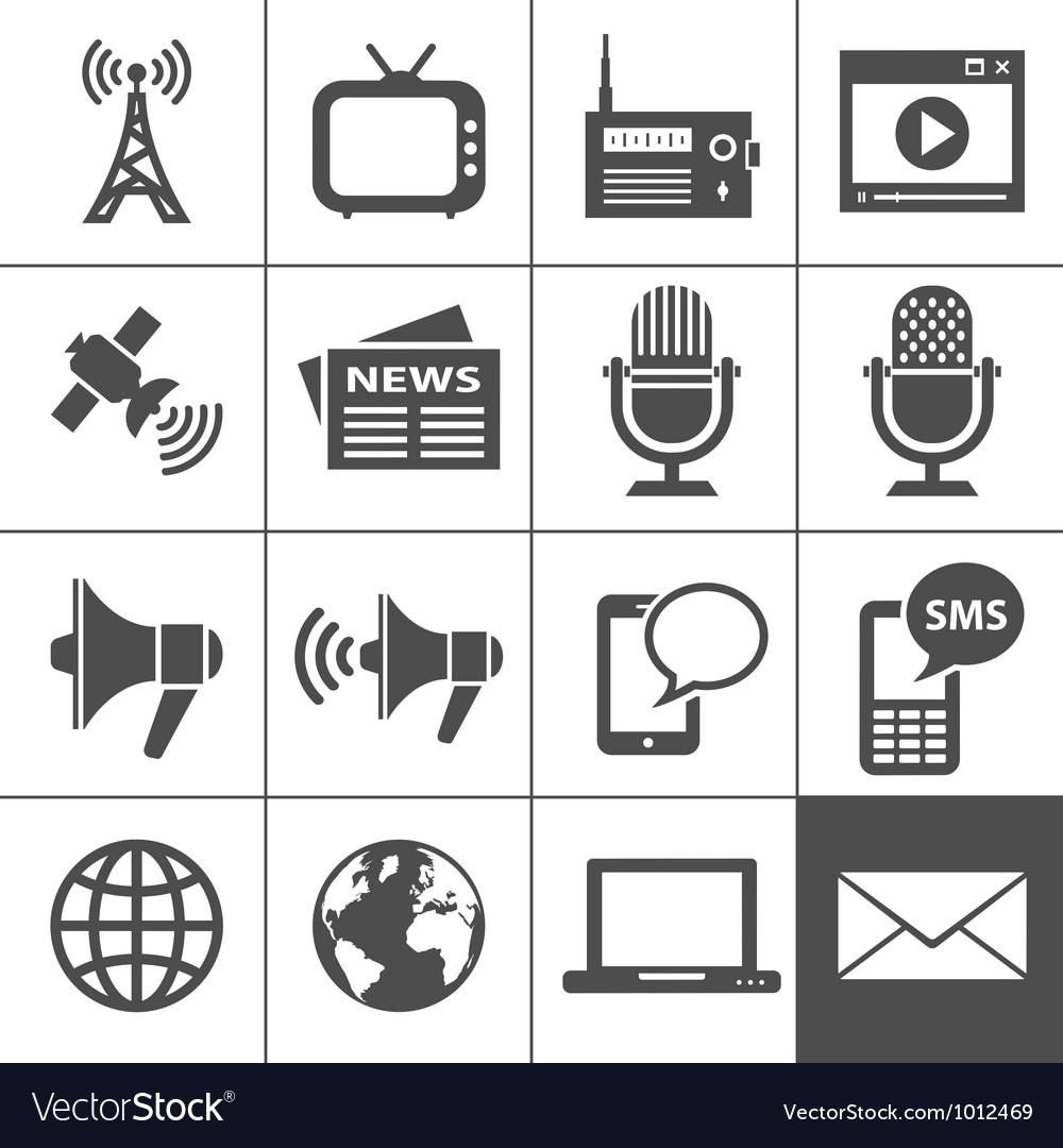 Media icons set - simplus series vector
