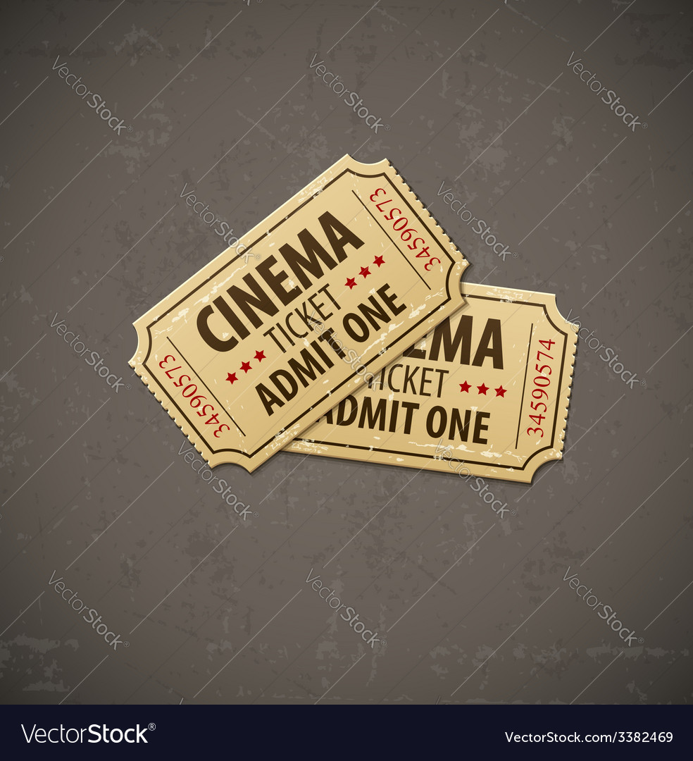 Two old cinema tickets for vector
