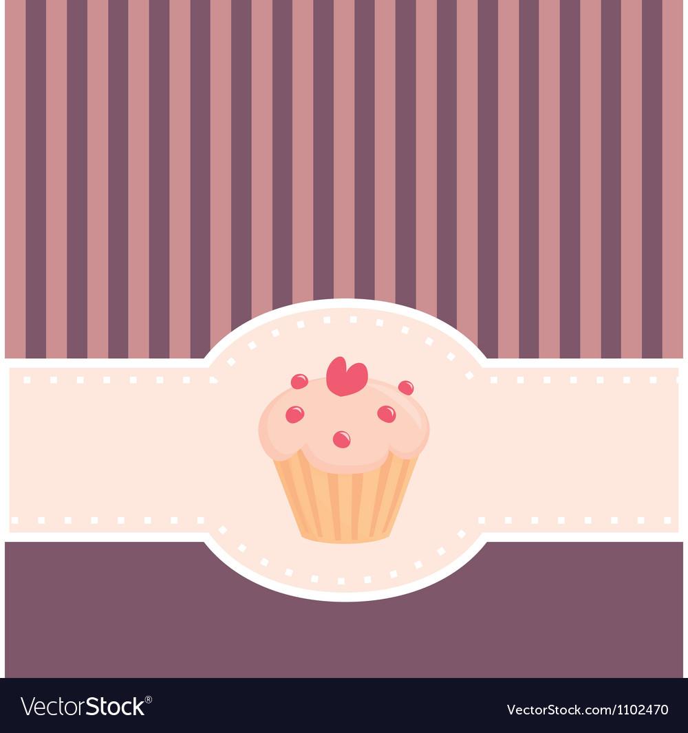 Retro muffin cupcake invitation vector